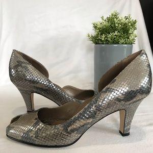 Anti Lu Snake skin open toe shoes
